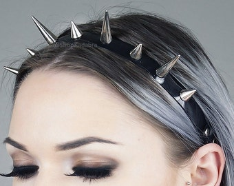 Spiked Headband | Silver Spiked Headband | Headdress | Spikes | Large Spiked Crown | Witchy | Goth | Metal | Kadabra Cult | TRINITY CROWN
