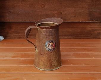 Large Tin Pitcher, Vintage Tinware Pitcher, Rustic Tin Vase, Dover 4 QT Liq Pitcher, Vintage Metal Jug, Oil Pitcher