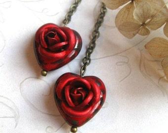 Red heart earrings, red rose, Valentine heart beads, glass
