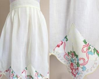 Vintage Half Apron Light Yellow Organdy Handkerchief Trim 473b