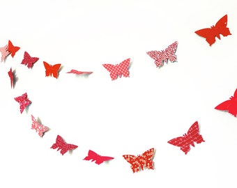 Red garland in paper butterflies