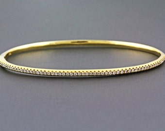 "0.47ct Round Diamond Pavé Set in 14k Yellow Gold Bangle Bracelet - 6.5"" - CUSTOM MADE"