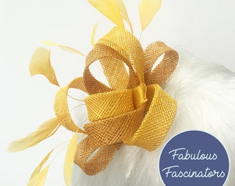 Yellow small fascinator, hairclip, hairband or comb, perfect for weddings