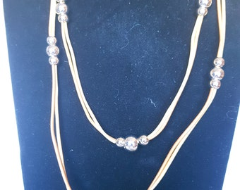 Leather multi strand necklace