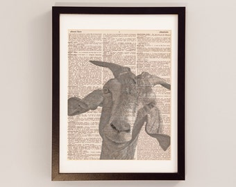 Vintage Goat Dictionary Print - Goat Art - Print on Vintage Dictionary Paper - Funny Gift Idea - Goat Print - Goat Photograph