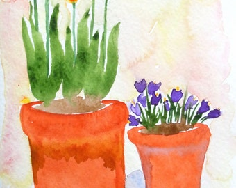 Tulips and Crocuses Watercolor Notecard
