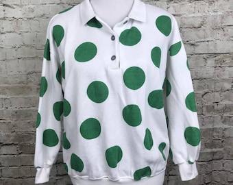 Vintage Womens Gitano Sweatshirt Large White Green Polka Dots Sweater Top