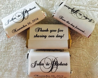 180 HIGH GLOSS Monogram Wedding wrappers/stickers/labels for your Hershey MINIATURES (Personalized Favors) for your party or any event