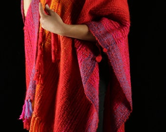 Vintage 1970s Handwoven Poncho *wool, red, orange, woven, 1970s, 1980s, 70s, 80's, shawl, gift for her*