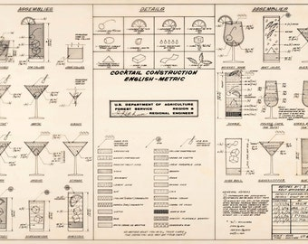 Mixed drinks blueprint 23x34 cocktail mixed drinks blueprint 23x34 cocktail construction chart giclee canvas gallery wrap malvernweather Gallery