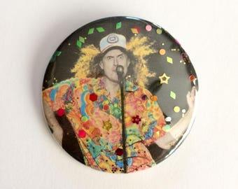 """Weird Al Yankovic Glitter Button Pin - Handmade 2.25"""" Pinback Button - Fashion Celebrity Glitter Buttons by J. Sayuri"""