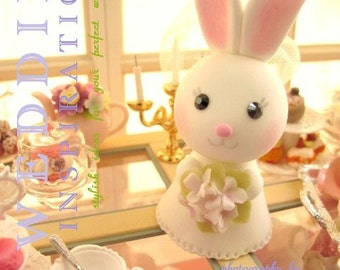 bunny Wedding Cake Topper-love rabbit and bunny with sweet heart base and swarovski crystal---k937