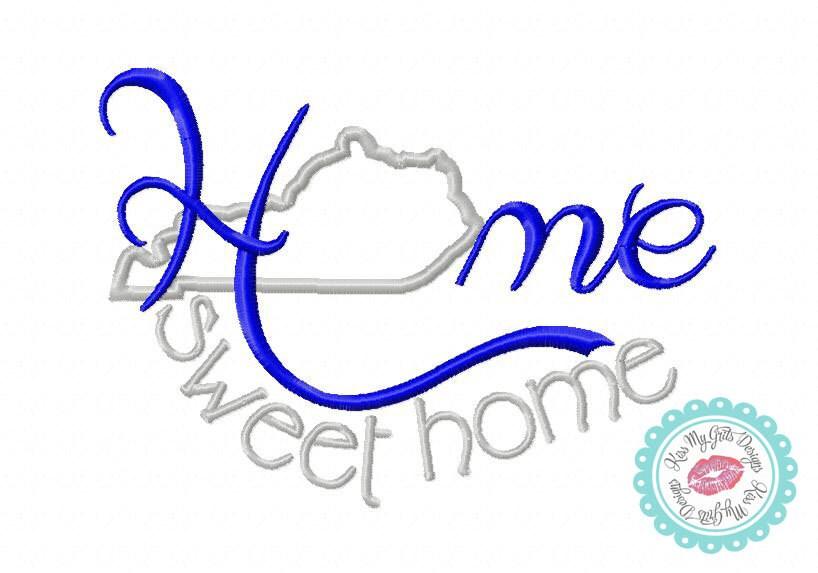 Kentucky Home Sweet Home Machine Embroidery Applique Design
