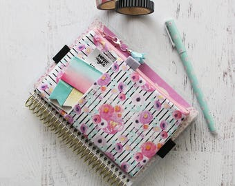 Pretty watercolor floral print bag - personal planner accessories - mini happy planner cover - planner pocket pouch - pencil pouch