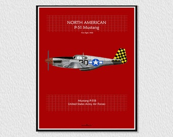 Laminate, downloadable poster for decoration, instant descargar wall decor printable, airplane poster, aircraft P-51 Mustang
