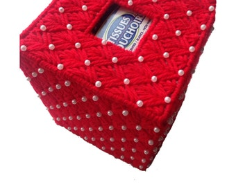 Red Beaded Pearl Tissue Cover in Plastic Canvas