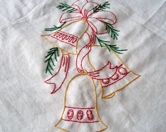 Embroidered Towel, christmas towel, hand Embroidery, Bells, Hand Embroidered Dish Towels, christmas kitchen linens, cotton dish towels