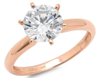 Gold Unique Wedding Band, Gold Wedding Band, Wedding Band Gold, 2 Ct Solid 14k Rose Gold Simulated Round Cut Solitaire Engagement Ring
