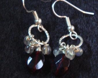 Garnet and Labradorite Dangle Earrings-Lena