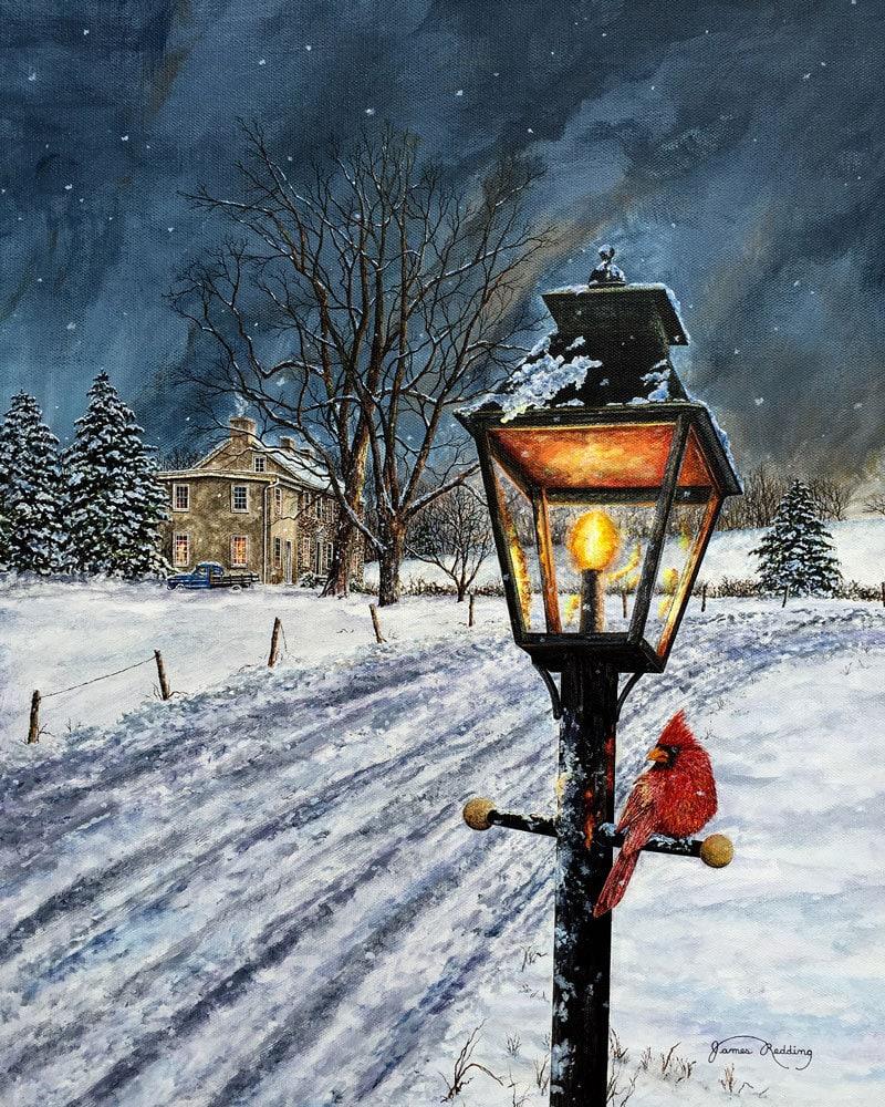 Lamppost Painting Cardinal Painting Winter Scene Snow