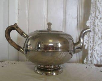 Silver metal, decorative teapot, vintage tea time, retro kitchen, French country