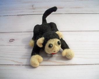Felted Monkey, Toy Monkey, Handmade Animal, Small Plush, FeltWithAHeart