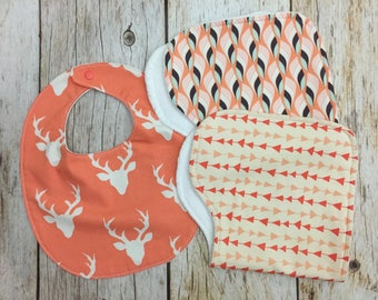 Baby Girl Gift Set - Coral and White - Two Contoured Burp Cloths and Bib - Baby Shower Gift, Baby Girl Gift Set, Burp Cloths, Woodland