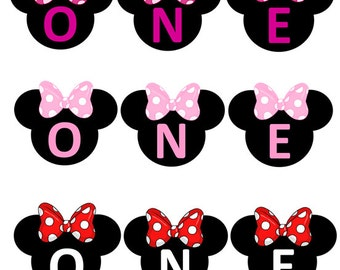 Minnie Mouse 1st First Birthday Custom Made ONE High Chair Smash Cake Photo Shoot Bunting Banner Birthday Decoration