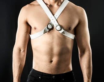 White Leather Harness for men, X shape