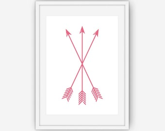 Pink Arrow Print, Arrow Wall Art, Pink Wall Art, Arrow Wall Prints, Pink Arrows, Wall Art, Printable, Instant Download