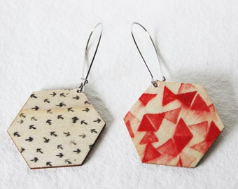 Red Triangle & Black Arrow Pattern Drop Earrings
