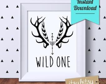 Wild One Monochrome print, Nursery printable, nursery decor, black and white nursery print, Kids decor, Instant Download