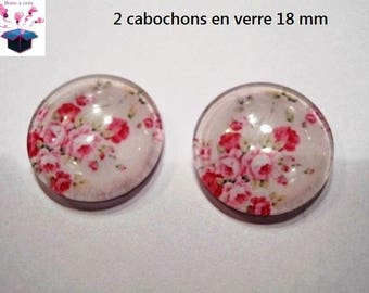 2 romantic theme 18mm domed glass cabochon