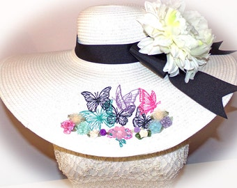 Butterfly Garden Floppy Hat Custom Easter You Choose Band, Bow, Flower OOAK Mother's Day, Easter, Derby Hat, Cup Race, Bridal or Wedding Hat
