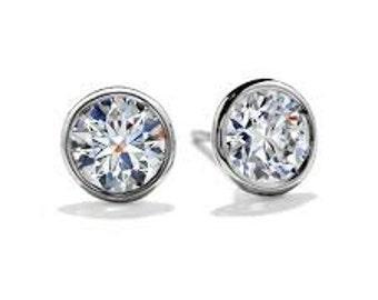 Bezel CZ Stud Earrings in Sterling Silver- 2.00 each Earring