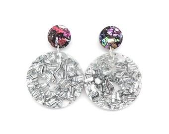 Chunky Silver Glitter Circle Earrings
