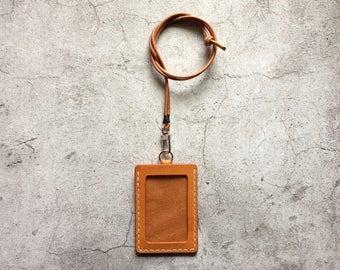 Tan Leather ID Holder Badge Holder ID Case