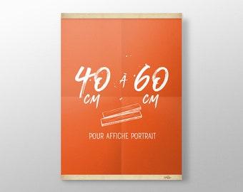 Grip Poster sur mesure de 40 à 60 cm | Porte affiche en bois, Cadre sérigraphie, Cadre poster, Cadre photo, Cintre affiche film