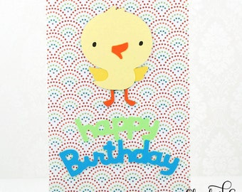 Birthday Card, Kids Birthday Card, Cute Birthday Card, Duckling, Handmade Greeting Cards, Clearance