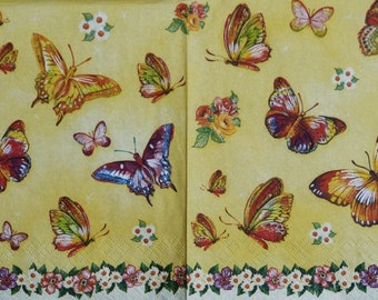 set of 2 napkins, decoupage paper napkins Decoupage paper Napkin for decoupage butterflies