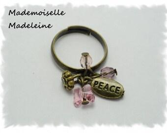 adjustable metal bronze PEACE peace pink Crystal ring