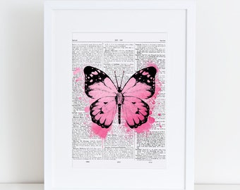 Dictionary page Butterfly, Pink, watercolor, A4, watercolour, butterfly print, print at home, digital download, vintage, dictionary page,art