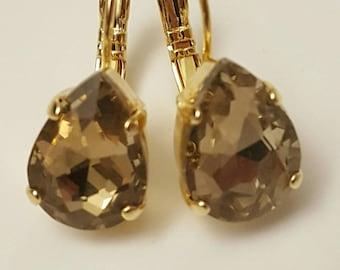 Topaz earring, wedding jewelry, bridal earring, bridesmaid earring, bridal jewelry, gold drop earring,Georgian Paste,crystal earring