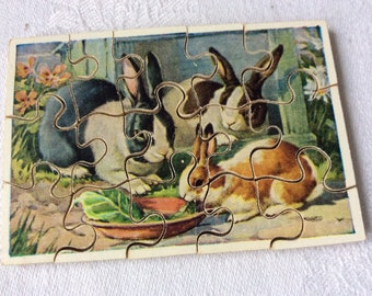 Victory Vintage Jigsaw Puzzle Vintage Wooden  Rabbits