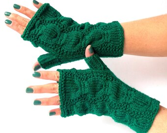 Green Knit Fingerless Gloves. Knitted Short Emerald Fingerless Mittens. Arm Warmers. Wrist & Hand Warmers. Women Accessories.