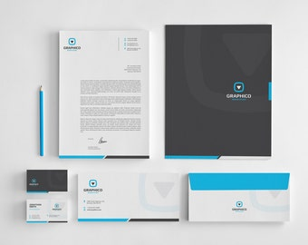 Letterhead etsy corporate stationery design template business card letterhead envelope folder ai wajeb Gallery