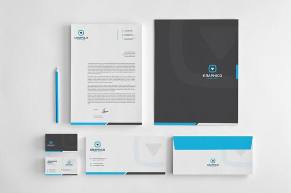 Corporate stationery design template business card corporate stationery design template business card letterhead envelope folder ai eps psd docx pdf instant download v1 wajeb Images