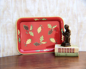 Vintage Red and Yellow Metal Tray With Leaves,  Midcentury Vintage  Serving Tray