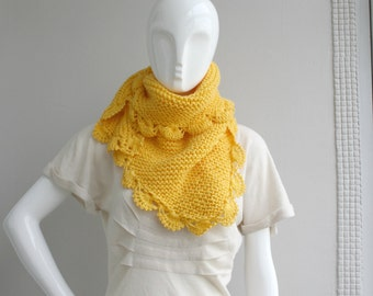 Handmade Yellow Mustard Triangle  Midi Shawl scarf collar Capelet Cowl Mothers Day Gift Under 75