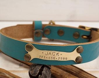 Dog Collar,  Personalized Dog Collar, Dog Collar Leather, Leather Collar, Leather Dog Collar, Dog Collar Personalized, Teal Leather Colllar